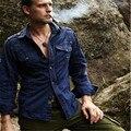 Мужская С Длинным Рукавом Мода Рубашки Грузов Случайные Свободные Плюс Размер Равномерное Хлопок Вышивка Рубашки Армия Зеленый Рубашка A009