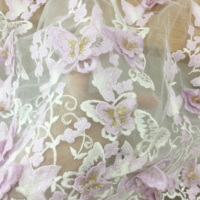 1 yard 3D Butterfly Applique Flower Embroidered Tulle Lace Fabric Dress Mesh Lace DIY Material Dress Decorative Clothes