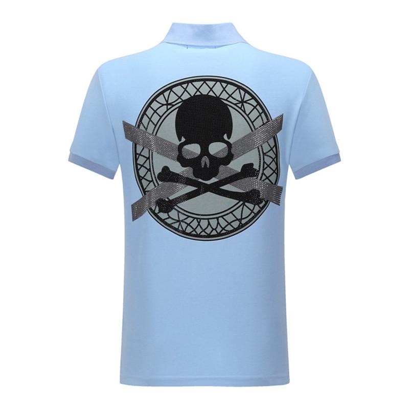 Men   Polo   Shirt Embroidery Skull Diamond Printed Casual Lapel   Polos   Shirt High Quality Tops Solid Cotton Hip Hop   Polos   Shirts
