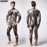 3mm Professional Diving Suit Camo Rock Wetsuit Neoprene Inside Nylon Outside Super Stretch Lycra Chest Both