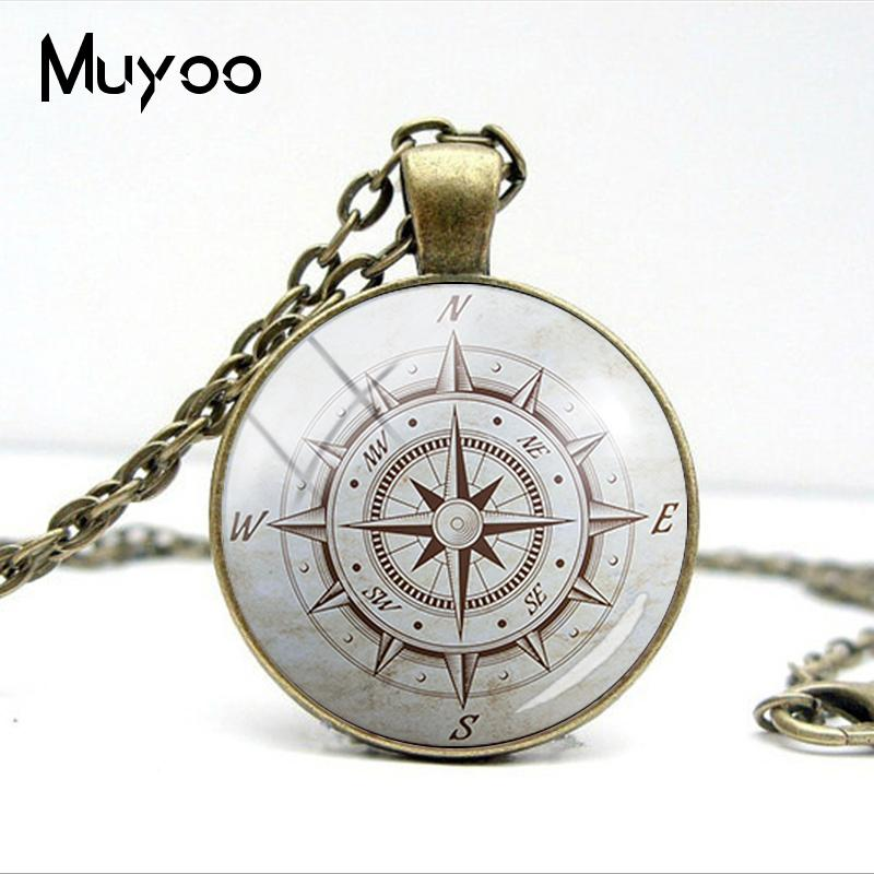 HTB1iGn4VY2pK1RjSZFsq6yNlXXaS - Vintage Old Compass Rose Steampunk Style Glass Cabochon Pendant Necklaces Glass Color Compass Jewelry Nacklace Gifts