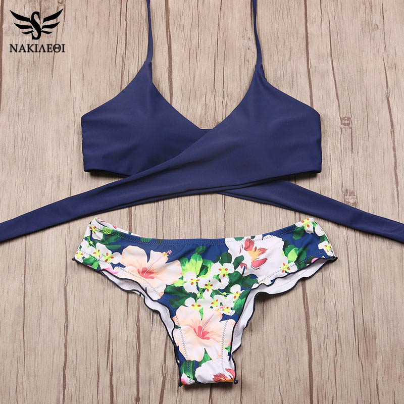 NAKIAEOI 2018 Sexy Cross Brazilian Bikinis Women Swimwear Swimsuit Push Up Bikini Set Halter Top Beach Bathing Suits Swim Wear 4