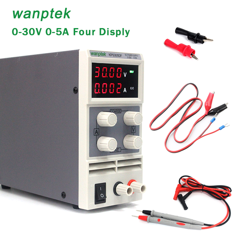 Wanptek KPS305DF 0~30V 0~5A Adjustable Digital Switching DC Power Supply 115/230V Four display 1200w wanptek kps3040d high precision adjustable display dc power supply 0 30v 0 40a high power switching power supply