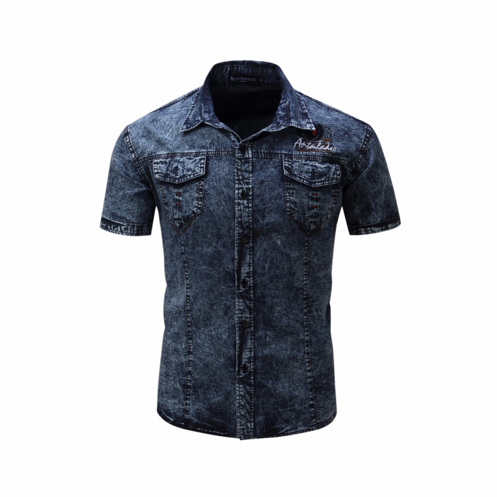 Mens polo shirt cotton button down short sleeve denim polo for Men s cotton polo shirts with pocket