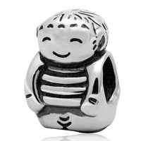 1pcs 100 Authentic 925 Sterling Silver Vintage Happy Boy Charm Bead Fits European Bracelet Jewelry