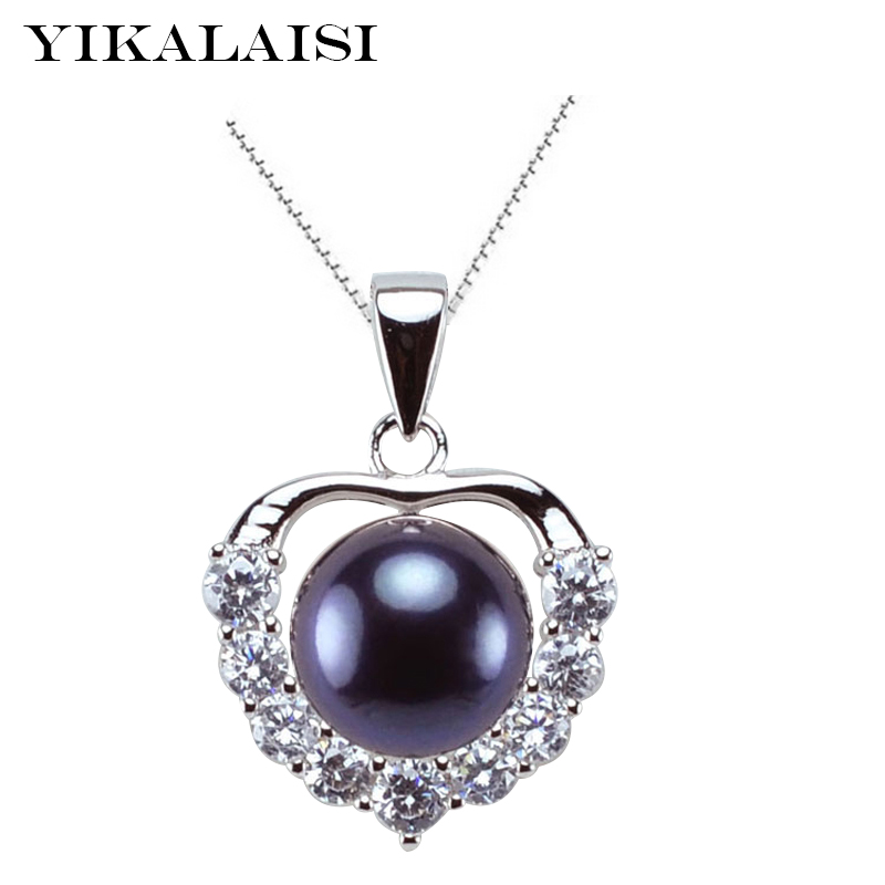 YIKALAISI 925 Sterling Silver Jewelry 100% Natural 9-10mm Freshwater Pearl Jewelry Pendant  For Women Best  Wedding Gifts