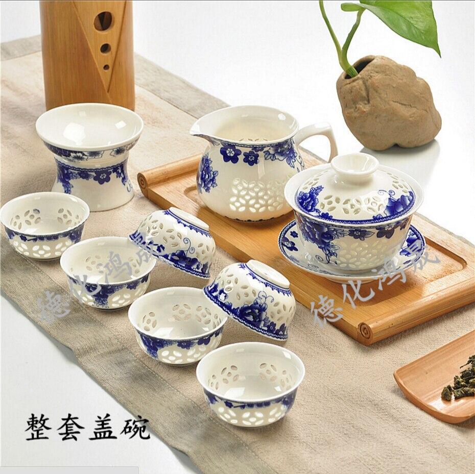 9 Pcs Kung Fu Tea Set Ceramic Tea cup Blue and White TeaPot Bone China GaiWan