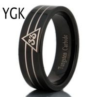 Free Shipping USA UK Canada Russia Brazil Hot Sales 8MM Black Pipe 33rd Degree Masonic New Men's Tungsten Carbide Wedding Ring