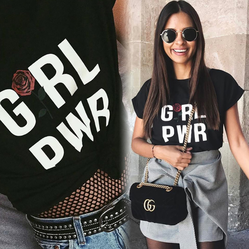 Black t shirt outfit tumblr - Fashion Women Clothing Lady Tshirt Letter Girl Pwr Rose Print Short Sleeve Female Tumblr Tops Tees