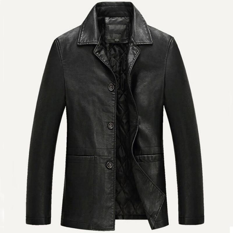 Leather Jacket Men Soft PU Leather Jacket Male Business casual Coats Male Jaqueta Masculinas Inverno Couro Plus size XXXL 4XL
