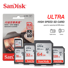 Sandisk ultra sd 카드 32 gb sdhc 메모리 카드 64 gb 128 gb sdxc c10 USH I 16 gb 플래시 카드 디지털 카메라 용 풀 hd 비디오 80 메가바이트/초
