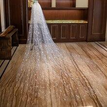 Фата для венчания с гребнем Кружевная аппликация мягкий тюль 3 м Длинная свадебная фата Свадебные аксессуары