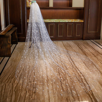 Cathedral Wedding Veil With Comb Lace Appliques Soft Tulle 3m Meters Long Bridal Veil Wedding Accessories