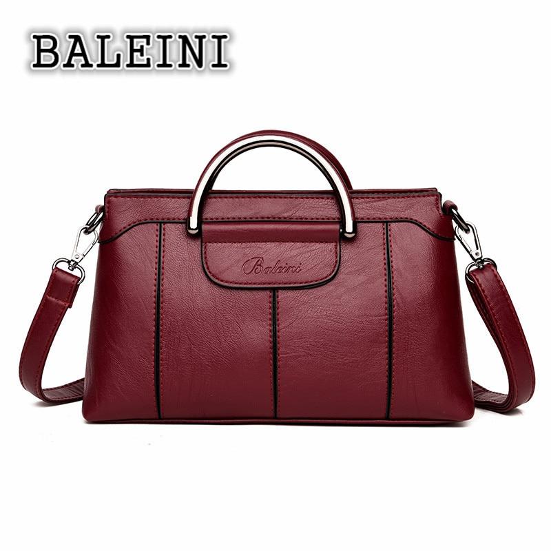 Baleini Leder Satchel Frauen Messenger Taschen Vintage Designer Handtasche Briefträger Weibliche Aktentasche Große Crossbody Hand Tasche Für Dame