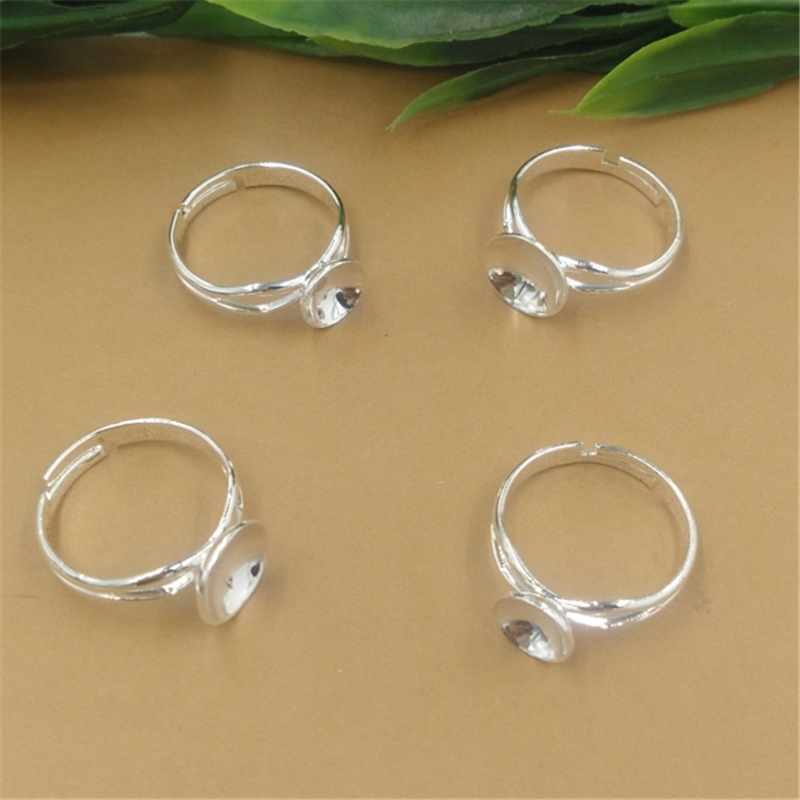 50Pcs Round 8mm 10mm Cabochon Ring Base Silver Diy Jewelry Findings  Adjustable Ring Setting f2eb68197561