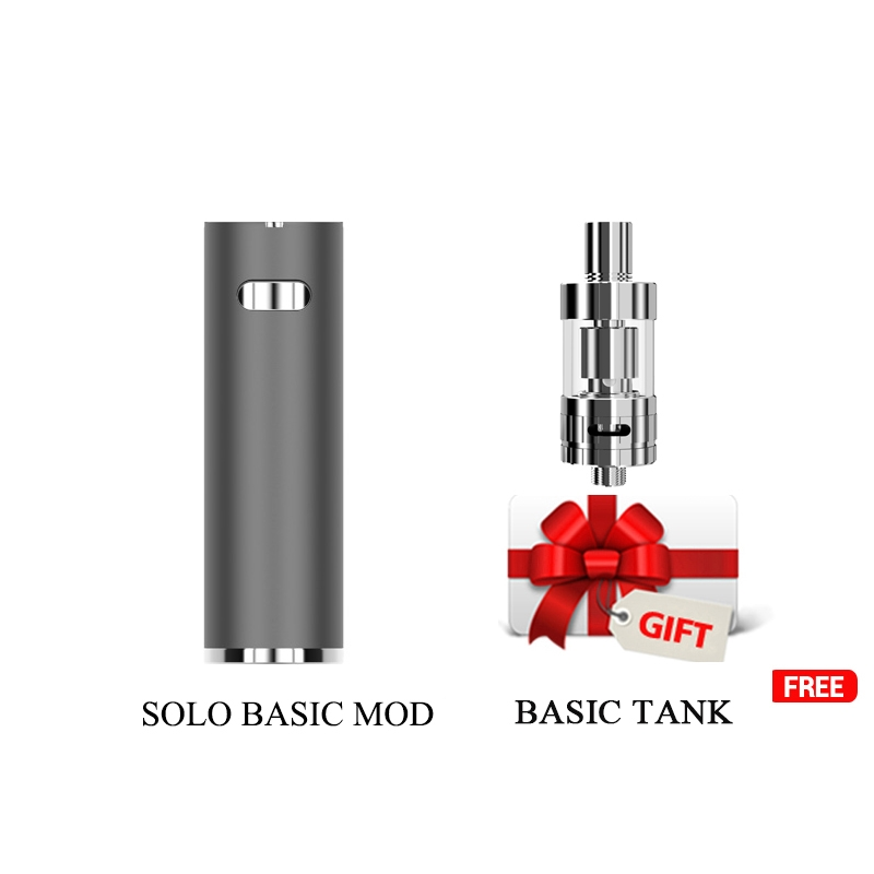 Gift tank Electronic cigarette Solo Basic MOD with 1100mAh built in battery Mini Vape Pen 2.0ml tank vape Starter kit 0.5ohm 25w