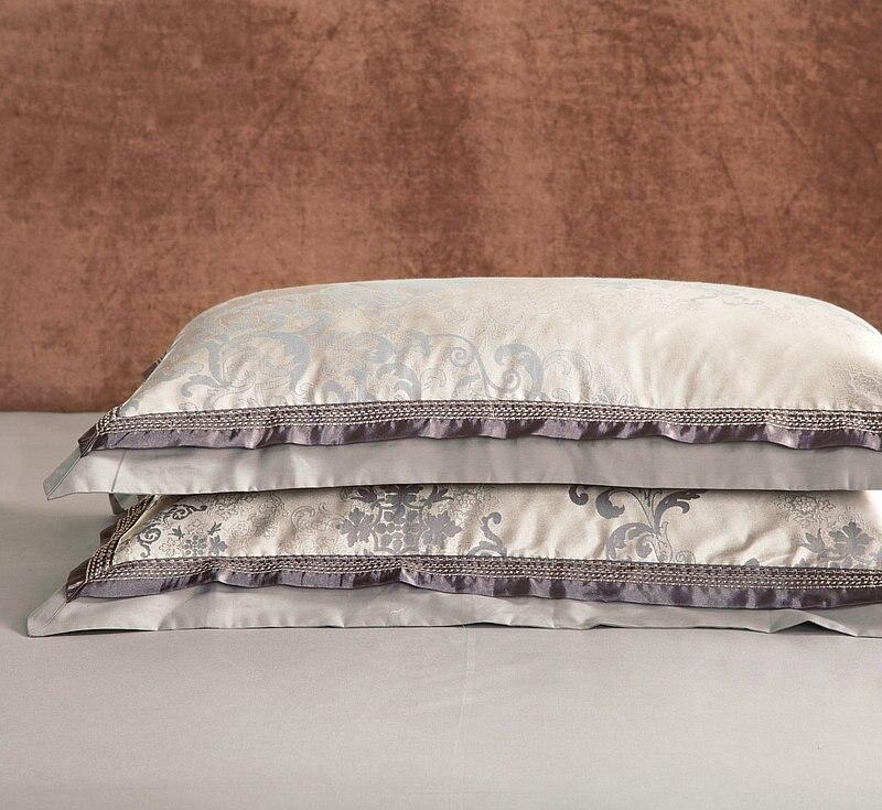 Oriental clássico Bordado Jacquard jogo De cama de Luxo King size Rainha 4/6 Peças De Algodão De Seda de Cetim conjunto de Cama Edredon cobertura Lençol - 5