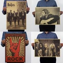 Крафт-бумага музыка рок плакат винтажный фон группа звезды картина для декоративной живописи Прямая поставка