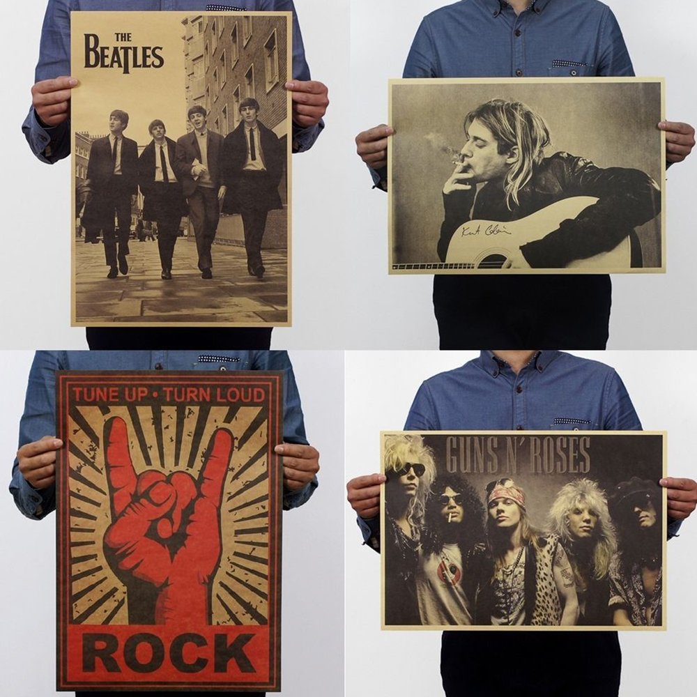 2019 Kraft Paper Music Rock Poster Vintage Background Band Stars Picture For Decorative Painting Drop Shipping