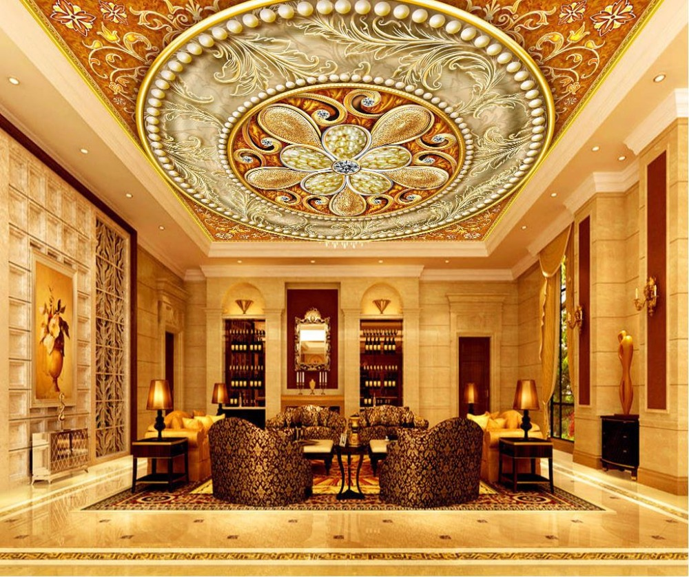 Large Luxury Ceiling Wallpaper Murals Home Decor Ceiling Stickers Wallpaper Classical jewelery 3D Wallpaper Living room blue earth cosmic sky zenith living room ceiling murals 3d wallpaper the living room bedroom study paper 3d wallpaper
