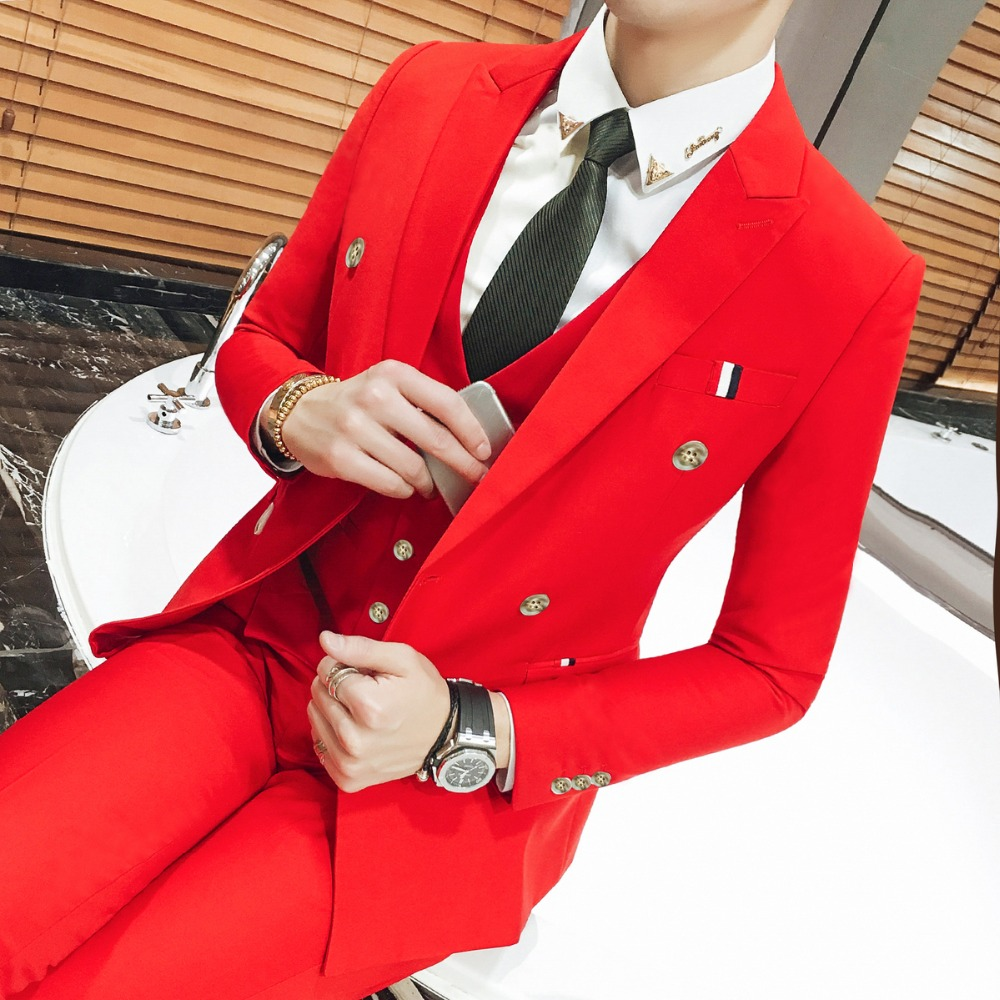 8 Color Double Breasted White Wedding Suit Costume Homme Mariage Men Tuxedo Vestito Uomo Smoking Terno Slim Fit Royal Blue 3xl