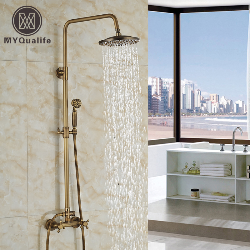Luxury Wall Mount Dual Handle Shower Set Faucet 8 Rain Shower Mixer Tap with Handshower Antique Brass Finish luxury bathroom brass ceramic antique shower faucet set single handle wall mount exposed rainfall shower mixer tap