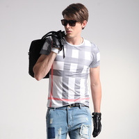 8 Models Summer Top Fashion Plaid T Shirt For Men Slim Fit Casual Top Tees Men