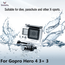 SnowHu for Go pro Accessories for Gopro Waterproof Housing Case Mount Hero 4 3  plus for Gopro Hero 3+ 3 4 Camera Mounting GP248 bz112 silicone case for gopro hero 3 3 remote controller navy blue
