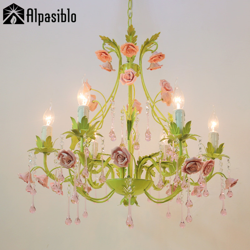 US $115.5 30% OFF|6Lamps crystal chandeliers bedroom lamp Rose flower  personalized iron ceramic crystal chandelier lamp Pink /green Pure white-in  ...