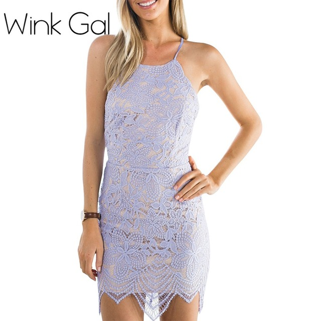 6b8ca7fa4657 Wink Gal Summer Style Sexy Lace Bodycon Dress Lavender Strappy Backless  Elegant Dresses Women 1430