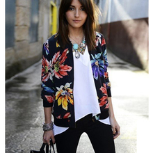 Woman  jacket long sleeves Zippers Print Floral Women windbreaker spring femme Slim Thin summer jacket stylish stand neck long sleeves floral print jacket for women