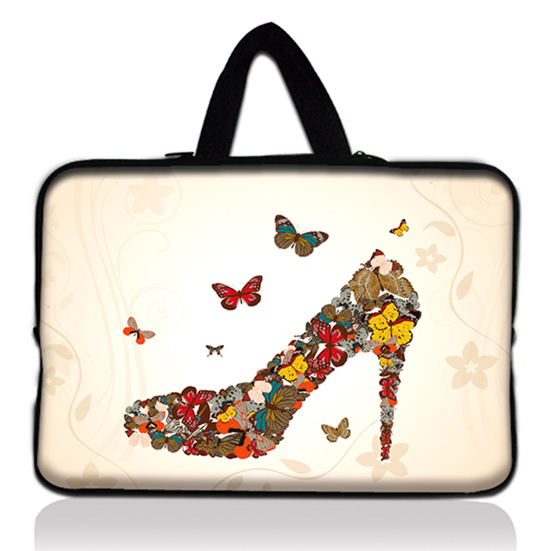 High Heeled Butterfly Design Laptop Sleeve Bag Cover Notebook Tablet PC Case +Hide Handle For Dell Hp Lenovo Acer Asus Toshiba #