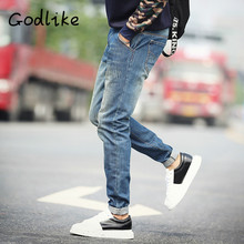 GODLIKE 2017 autumn new basic jeans, children' enormous pants, pattern and casual jeans/Slim jeans