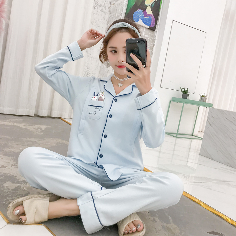 2019 Spring Maternity warm Nursing clothes Pregnant Women cotton Sleepwear Breastfeeding outwear 2pcs set for Mom