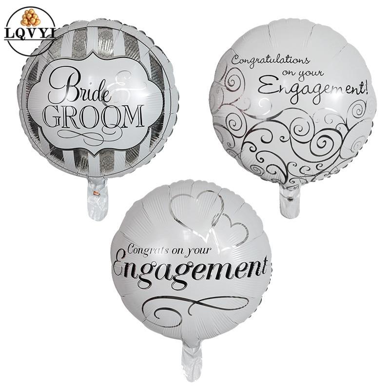 "100pcs 10/"" Round Weddding Bride Printed Ballons Latex Foil Engagement Balloons"