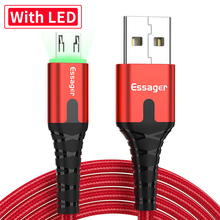 Essager LED USB Micro Cable Fast Charge Wire Cord 0.5/1/2m USBC Cable for Xiaomi Samsung Oneplus 7 Pro Mobile Phone Charger
