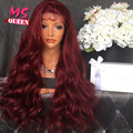 Fashion Red Synthetic Lace Front Wig Body Wave With Baby Hair Heat Resistant Synthetic Lace Wigs for Black Women Free Shipping