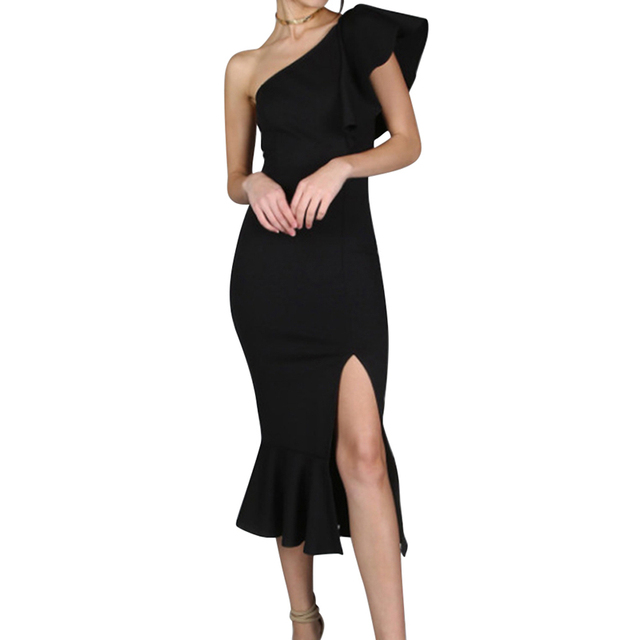 5947ce8324f Black Party Dress 2018 Women One Shoulder Frill Peplum Hem Sexy Elegant  Summer Dresses Slim Ruffle Split Sheath Bodycon Dress