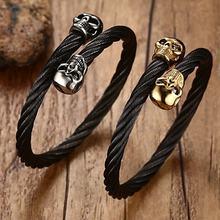 Double Skulls Elastic Adjustable Black Steel Twisted Cable Cuff  Bracelet