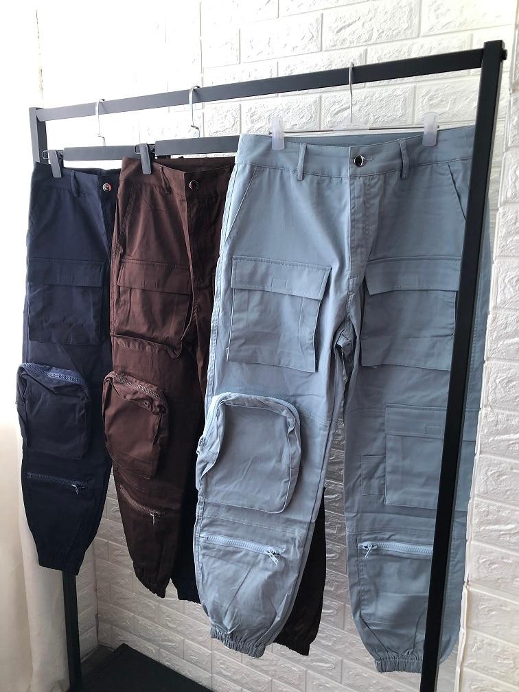 Alta Sueltos De Colores Joggers Multi Mujeres Harem Mujer Blue Cintura Blue brown dark Pantalones Bolsillos Casual Pantalon Streetwear 3 1qPw7BxpP