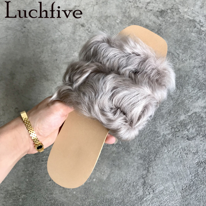 Fall winter sheep fur slippers outdoor flat heel flipflops 2018 chic funny shoes women lazy mules furry slides for ladies fall winter chic women rabbit fur slippers genuine leather flat heels shoes women round toe slip on warm lazy outdoor mules