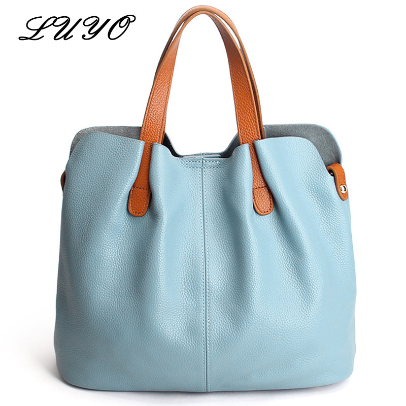 LUYO Summer Ladies Handbag Genuine Leather Tote Shoulder Bag Female Bucket Ladies Casual Shopping Bag Top-handle Bags For Women 2016 rainbow stripes tote bag stylish hollow out beach bag ladies shoulder handbag summer shopping bag for women big m47