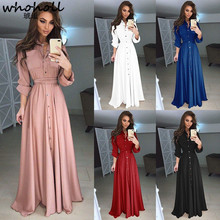WHOHOLL Plus Size 5XL Spring Women Dress Lady Long Sleeve Maxi Dress Casual Turn-down Collar Women Pleast Dresses Party Clothes fashion autumn women dress lady long sleeve shirt dress casual turn down collar women dresses tassels loose party clothes