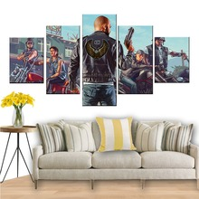 5 Piece HD Cartoon Picture Grand Theft Auto V Game Poster Artwork Canvas Paintings GTA Games Art Pint Pictures for Wall Decor