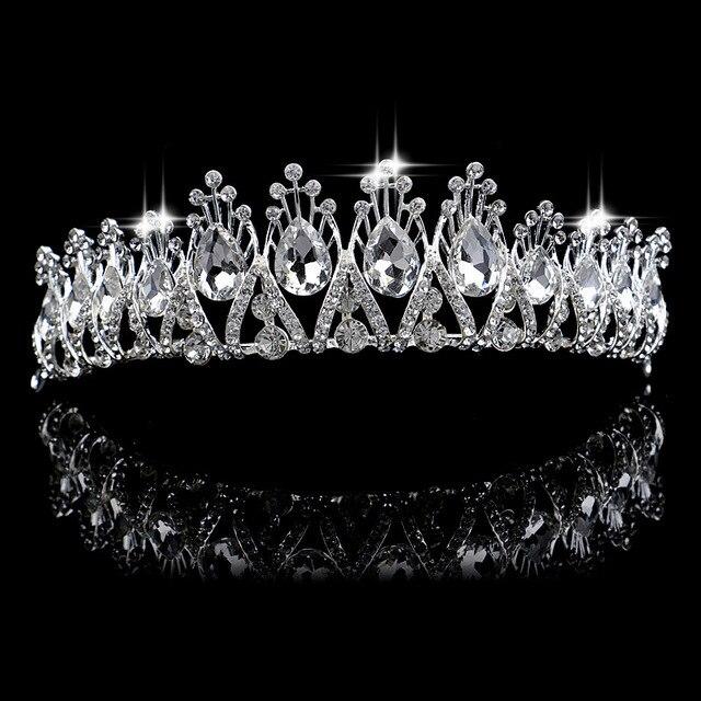 Принцессы Короны, Тиары Мода Свадебные Коронки Свадьба Обручальное Ювелирные Изделия Волос Большой Кристалл Глава Аксессуары Для Волос Кристалл Hairwear