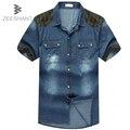 5XL 6XL 7XL Супер Большой Размер Дизайн С Коротким Рукавом Мужчины Повседневная Джинсовые Рубашки Camisas Para Hombre Camicia Uomo Жира Рубашки