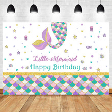 NeoBack Little Mermaid Birthday Backdrop Colorful Scales Girl Birthday Party Dessert Table Decorate Banner Background Photograph circus happy birthday backdrop clorful balloon flag photography background kids child birthday party dessert table decorate prop