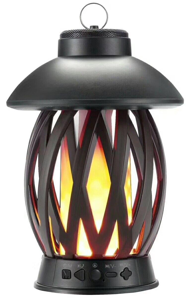 Nouveau Portable LED flamme atmosphère lampe haut-parleur sans fil Bluetooth pour Ipnones/Androi Camping voyage famille fêtes de noël