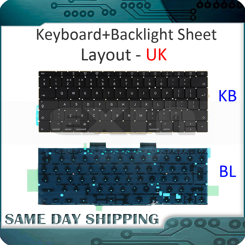 Genuine New A1708 UK Keyboard for Macbook Pro 13 3 Retina A1708 Keyboards UK with Backlight