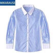 Kids Cotton Regular-Fit Boys Shirts Blue Striped Girls Blouse Long Sleeve Tops White Shirt For Children Toddler Boy Casual Shirt стоимость
